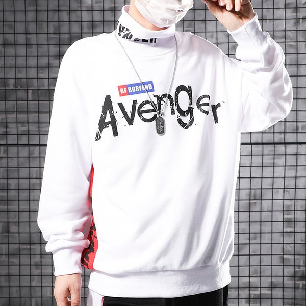 Loose semi-high collar letters printed shoulder-drop design Les hoodies sanitary clothes for men in autumn