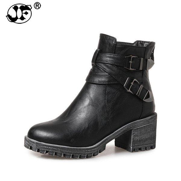 2018 large sizes 31-43 fashion platform women's shoes woman high heels punk style ankle boots black martin boots gray yhji