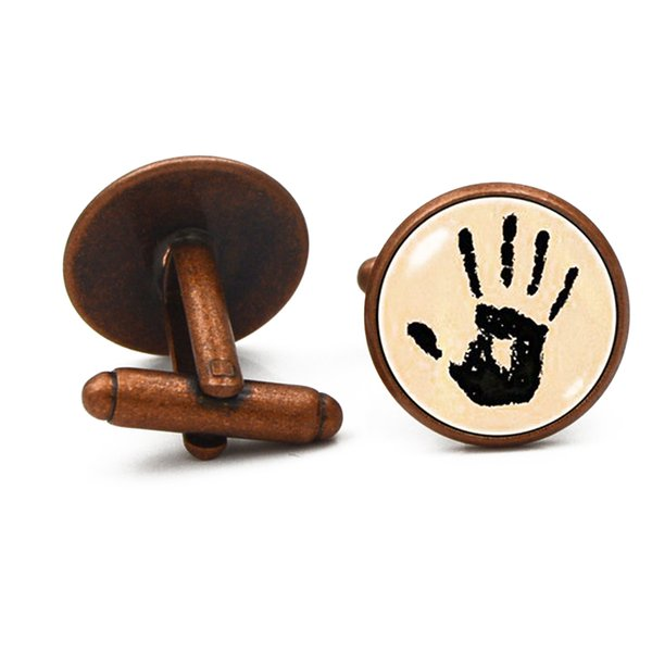 1 Çift Palm Çelik Paslanmaz Çelik Klasik Kol Düğmeleri Erkekler Düğün Iş Bakır Renk Koyu Kırmızı