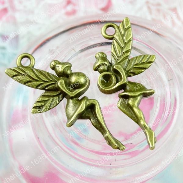100pcs 26*12MM Antique bronze tibetan alloy flying fairy angel charm for bracelet vintage metal pendants earring handmade DIY jewelry making