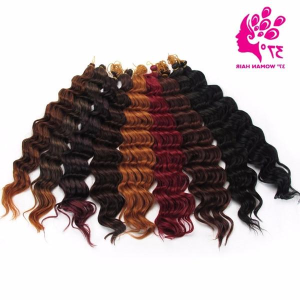 Tığ Örgü Derin Büküm Saç Premium Derin Dalga Sentetik Saç Uzatma 20 inç 80g Örgü Toplu Saç