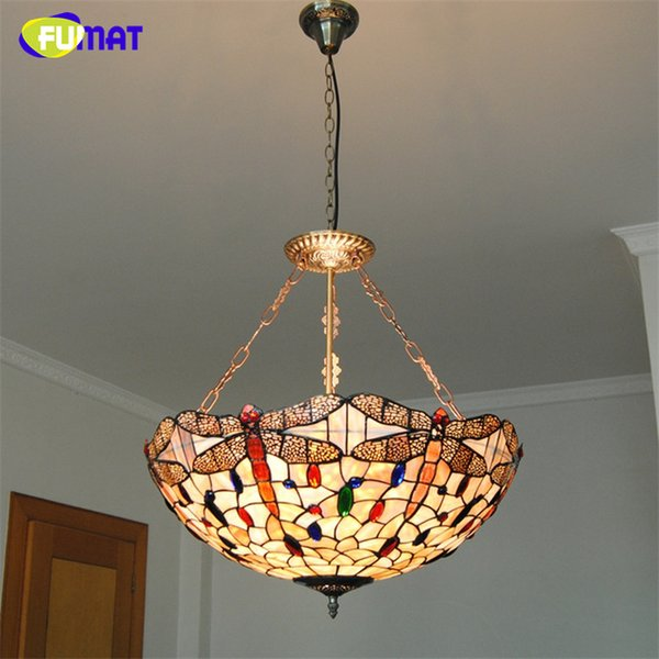 FUMAT European Tiffany Style Natural Shell Pendant Light Classic Retro Dragonfly Decorative Hanging Lamp For Dining Room Living