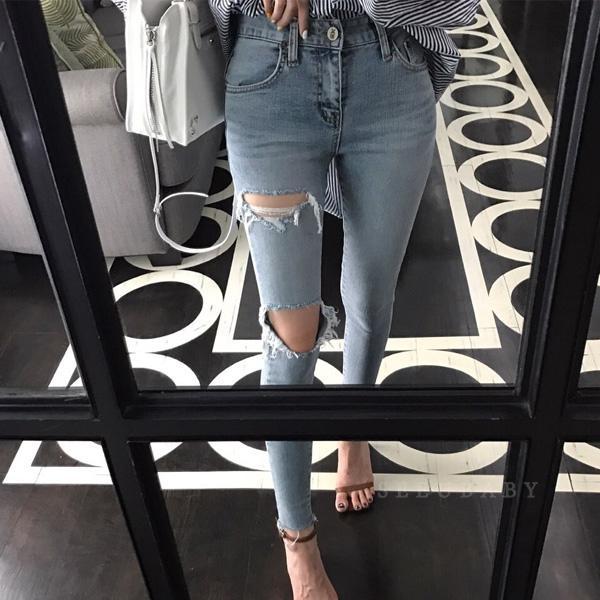 Diz Delik Yırtık Kot Kadın Streç Denim Kalem Pantolon Rahat Ince Kot Yaz Uzun Pantolon yüksek Bel Kovboy Büyük Boy Yüksek Kalite
