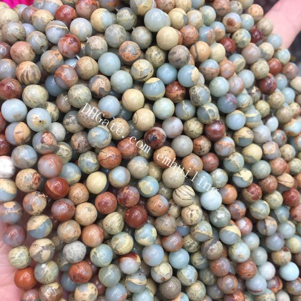 Compre 10 Hebras De Impresión Jasper ágata Perlas Niza Piel De Serpiente Lisa Jasper Piedras Preciosas Redondas Perlas Sueltas 4 12 Mm Natural