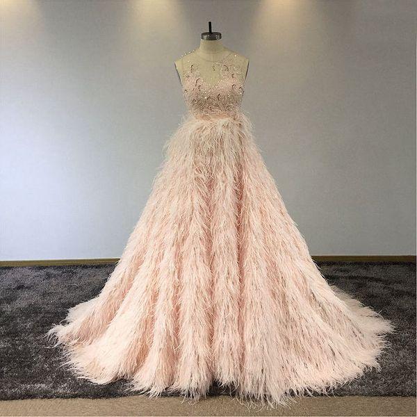 Luxo Blush rosa cristal frisado Prom Dresses Sexy Lantejoulas frisada vestido de baile Vestido de Noite com penas longas formais Vestidos Pageant partido