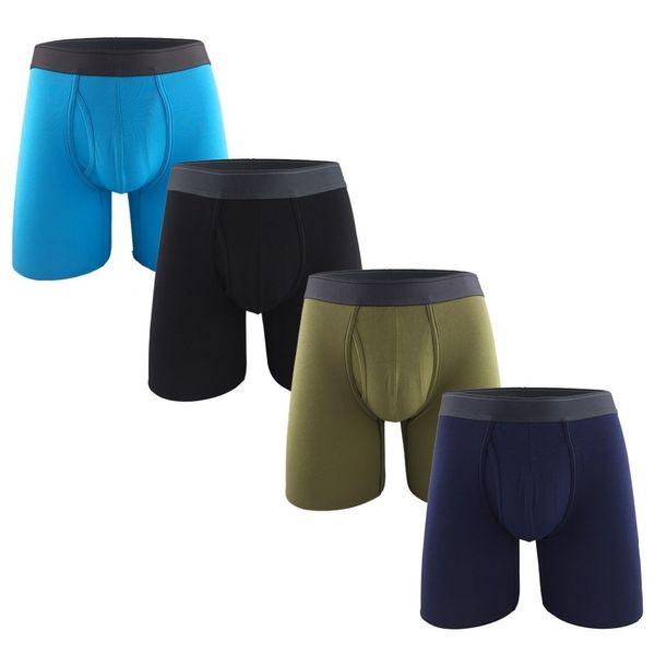 5341478982a1e3 Compre Colorido Dos Homens De Algodão Calções Perna Longa Boxer Underwear  Plus Size Elástico Cuecas Sexy Confortável Calzoncillos Q190516 De ...