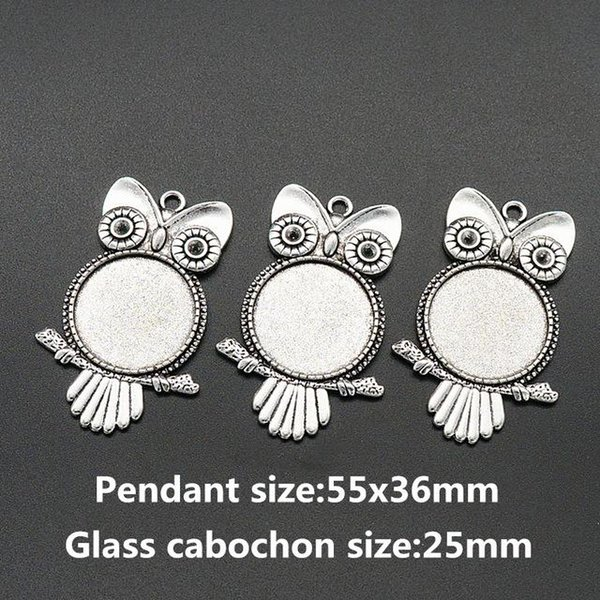 Großhandel-BL0072 Eule Antik Silber Halskette Anhänger Einstellung Cabochon Cameo Base Tray Lünette Blank Fit 25mm Glas Cabochon