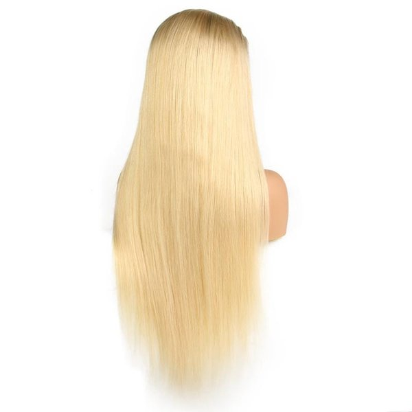 LIN MAN 150% Density 1B 613 Blonde Lace Front Wig Straight Remy Dark Roots Blonde Human Hair Wigs for Black Women