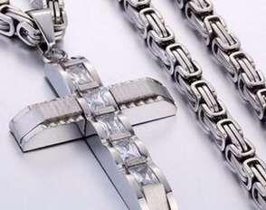 316L Stainless Steel Fashion Jewlery Byzantine Box Link Chain Necklace Cross Pendants For Men Women Hip Hop Accessories K3590