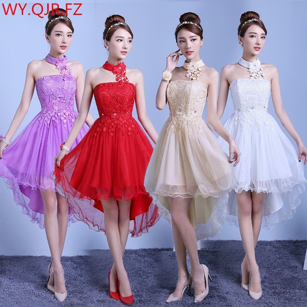 Pth-zx#before Long After Short Elastic Waist Lace Bridesmaid Dresses Bride Wedding Prom Pary Dress Girl 2019 Red Champagne White Y19072901