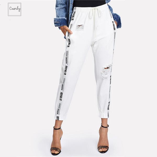 Lettera Strappato coulisse Denim Jeans Estate Autunno Donne Beige Mid vita regolare Pantaloni femminili lungo nastro
