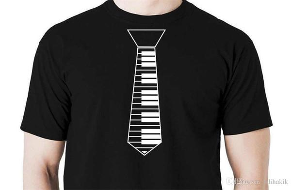 Summer 2018 New Piano Tie t shirt funny music musician keyboard gig shirt Short Sleeve Crew Neck Fashion