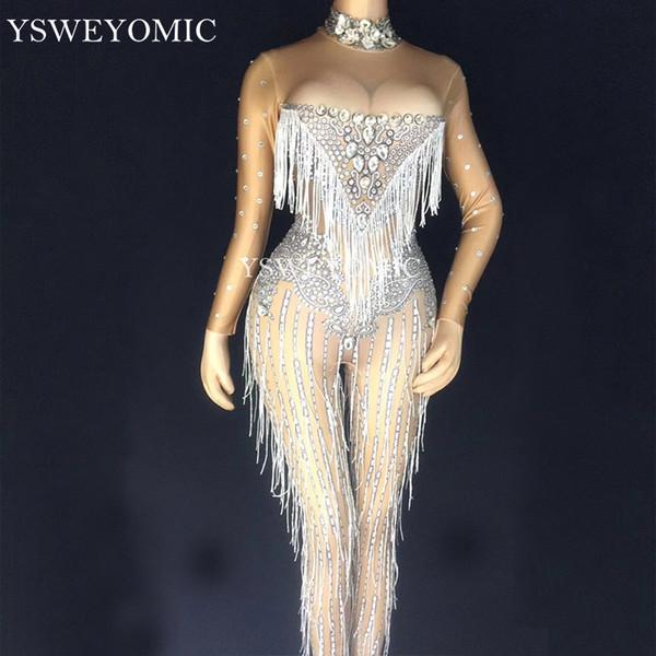 YSWEYOMIC Комбинезон Tassels Crystals Певица Танцовщица Сексуальные Леггинсы Костюм Большой Стрейч Боди Ночной Клуб Oufit Party Wear