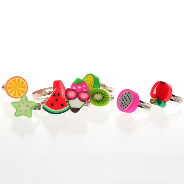 Wholesale Mixed Lots Resin Child Polymer Clay Children Fruits Finger Rings Different Style For Kids High Quality