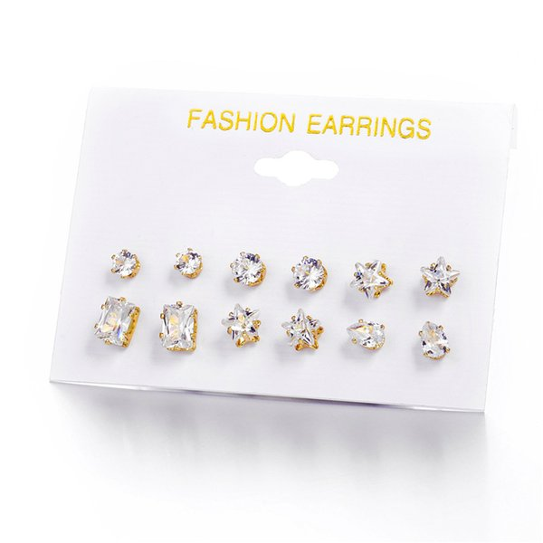 6 Pairs Pack Set Trendy Heart Star Mixed Stud Earrings For Women Fashion Gold Color CZ Crystal Stone Earings Brincos Jewelry