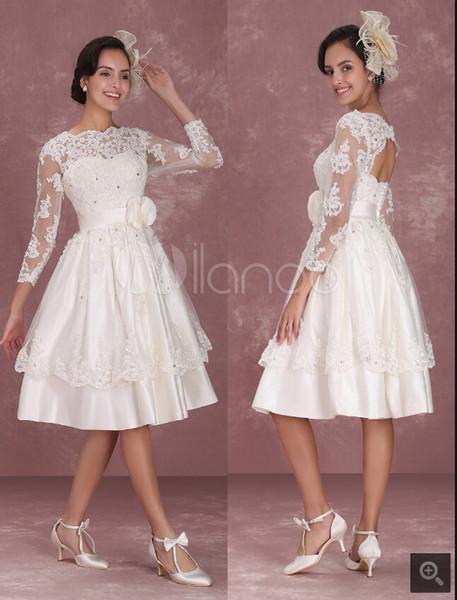 Discount Vintage Wedding Dresses 1950\u0027S Short Bridal Dress Lace Applique  Long Sleeve Keyhole Flower Sash Tiered Wedding Reception Wedding Dresses