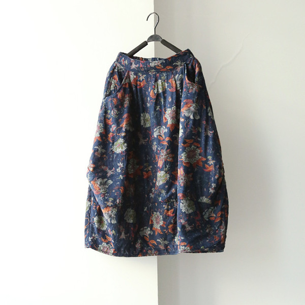 Women New Winter Elastic Pockets Flower Print Butterfly Loose Casual Chinese Style Skirts Floral C19041701