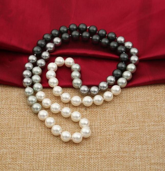 FREE SHIPPING +The gradient 10MM round shell pearl necklace manufacturers selling natural mbey