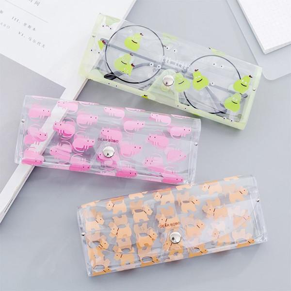 THINKTHENDO Dos Desenhos Animados Bonito Mulheres de Viagem Transparente PVC Óculos Saco de Proteção Caso Caixa de Transporte