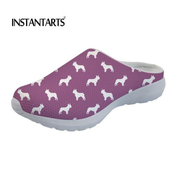 INSTANTARTS Flats Sandals Women Summer Cute Boston Terrier Print Casual Beach Sandals for Girls Breathable Mesh Shoes Women 2019