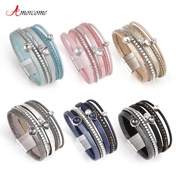 Amorcome 6 Colors MultiLayers Leather Bracelet Women Alloy Rhinestone  Magnet Charm Style Wrap Bracelets & Bangles Jewelry