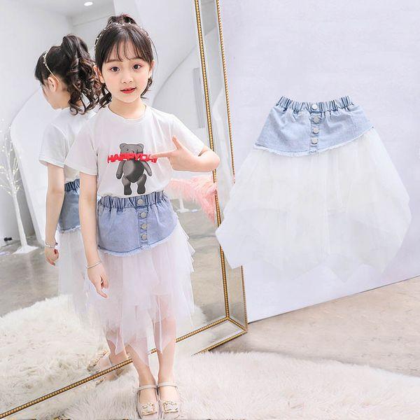 Summer teenage girls clothing lace denim girls skirt tutu kids skirt kids designer clothes girls clothes Fashion Tiered Skirts A6503