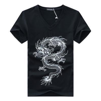 Китай Дракон печатной Мужской Короткой тенниска Homme V-образный вырез Tee Твердой Летняя моды футболка с коротким рукавом Повседневной Slim Fit одежды