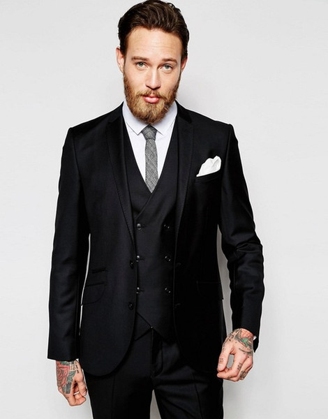 Hot Sell Slim Fits Groom Tuxedos Notch Lapel Mens Coat Prom Blazers Business Suits (Jacket+Pants+Vest+Tie) W:053