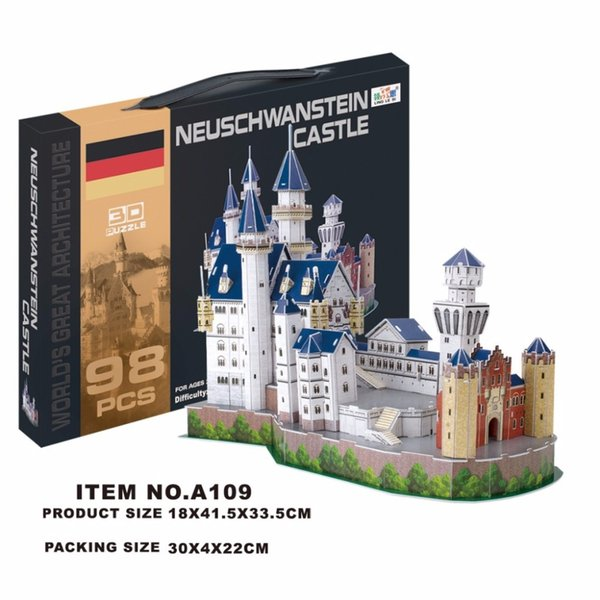 Building Block Classic Jigsaw 3D Puzzle Germany Castle Enlighten Construction Brick Toys Scale Models Sets Educational Paper