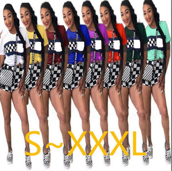 Women Shorts Set Black White Grid Short Sleeve T shirt + Shorts Tracksuit Summer 2 Piece Outfit Fashion Sportswear Street Jogging Suit B3181