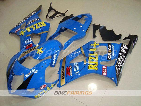 3Gifts New ABS motorcycle bike Fairings Kits Fit For Suzuki GSXR1000 K3 K4 2003 2004 GSX-R1000 03 04 bodywork set cool blue RIZLA+