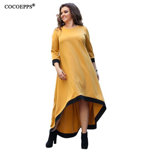 5XL 6XL Plus Size Abito lungo donna Primavera Maxi Dress Casual Giallo Big Size Evening Party Elegante Large Vestido