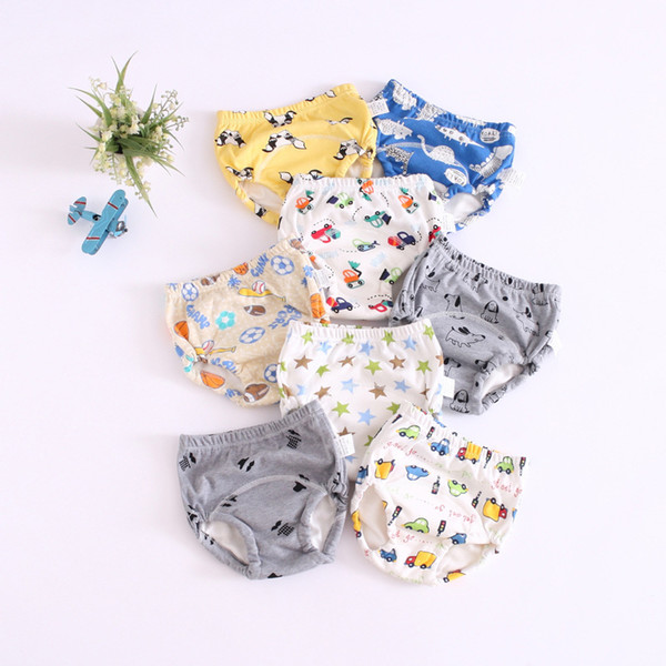 six-layer baby learning pants reusable children practice pants baby cloth diaper cartoon training pants underwear 25 colors