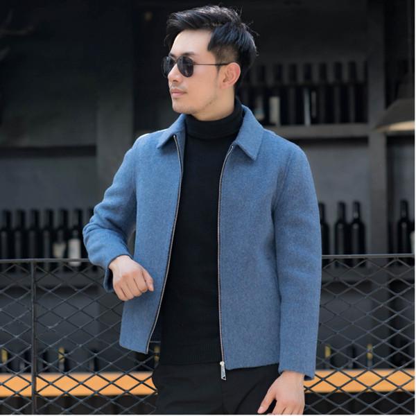 echó a un lado doble de invierno nueva chaqueta de cachemira de los hombres de la manera delgada del color sólido Casual caliente de la capa corta de lana ropa de alta calidad del macho
