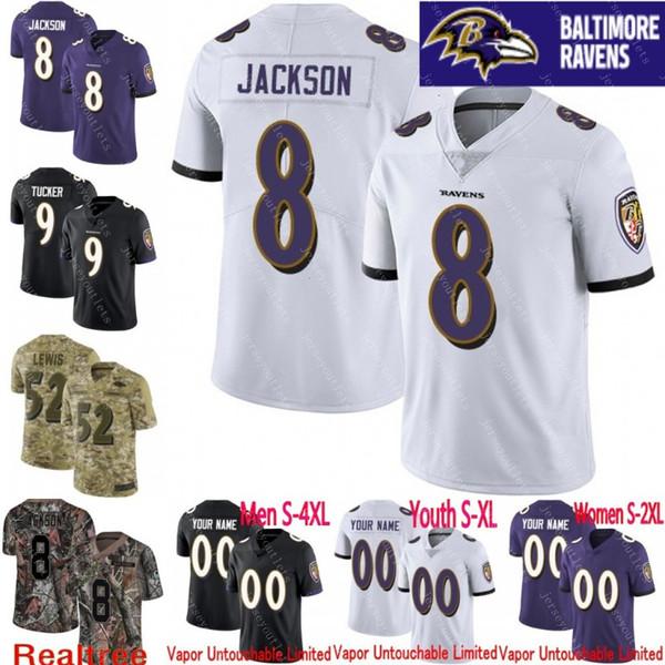 best service ecd61 07b17 2019 100th Anniversary Men Youth Women Vapor Untouchable Ravens 8 Lamar  Jackson 9 Justin Tucker Custom Camo Salute To Service Football Jersey 01  From ...