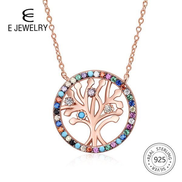 E Tree Of Life Rose Gold Silver Women Necklace 925 Sterling Silver Rainbow Cubic Zirconia Pendant Necklace Elegant Jewelry Gift Y19051602