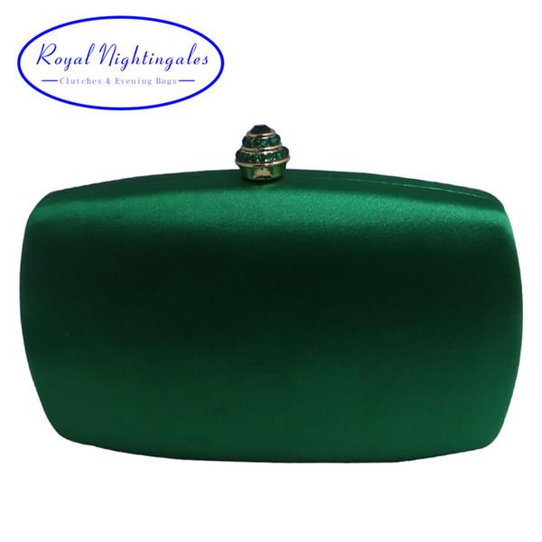 Elegante caja dura Embrague Seda Satén Bolsos de noche de color verde oscuro para zapatos a juego y para mujer Fiesta de graduación de bodas D18110106