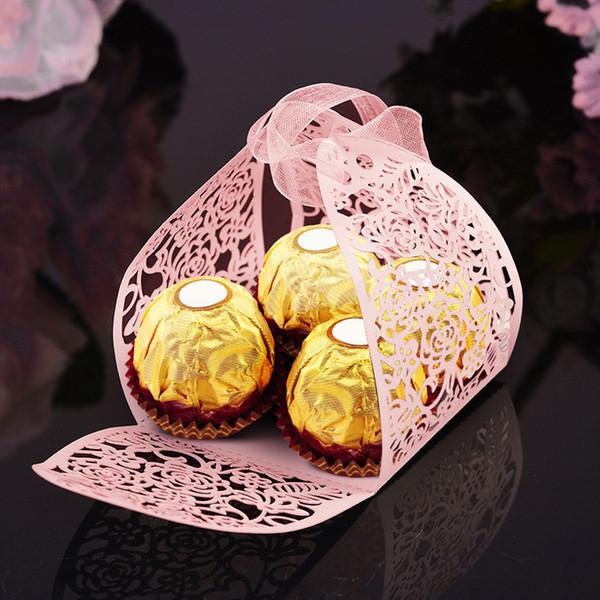 50 STÜCKE Hochzeit Gefälligkeiten Pralinenschachtel Süße Geburtstagsverpackung Perle Papier Mit Band Jubiläumsgeschenk Neuheit Dekoration Rose Party