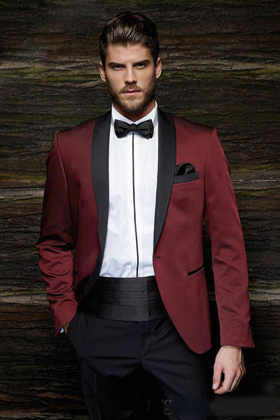 Burgundy Mens Suits Slim Fit Two Pieces Groomsmen Wedding Tuxedos For Men Blazers Shawl Lapel Formal Suit With Waistband (Jacket+Pants)
