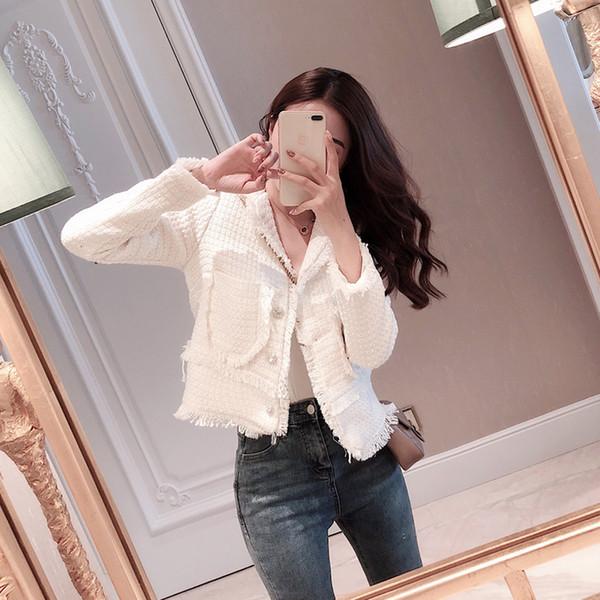 2019 New Fashion Women Coat Pockets Womens Jackets and Coats Vintage High Street Tweed Jacket Crop Coat Female Jacket(Runs Small