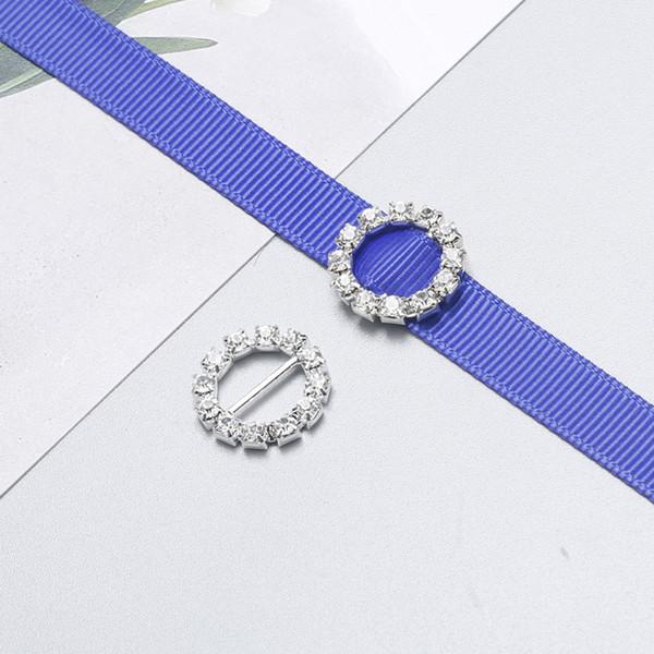 top popular 20mm Round Rhinestone Crystal Buckles 14mm Bar Invitation Ribbon Chair Covers Slider Sashes Bows Buckles Wedding Supplies 2020