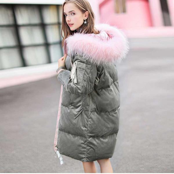 Acheter Femmes Mode Velours Long Manteau Survêtement Long Bas Veste Femme Neige Épaisse Parkas Femme Velours Puffer Manteau Russe Manteaux D'hiver De
