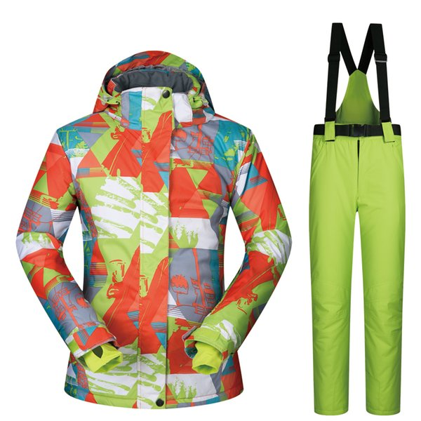 Winter Ski Suit Women Brands LANCHE Sets Female Ski Jacket And Snow Pants Clothes Warmth Windproof Waterproof Breathable Snowboarding Suits