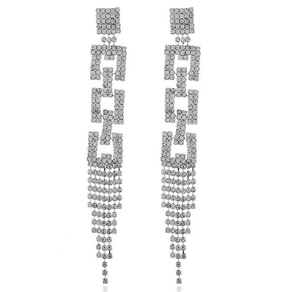 Wish Exaggeration Personality Three Layers Rhinestone Tassels Temperament Earrings Claw Chain Length Paragraph Geometry Earrings