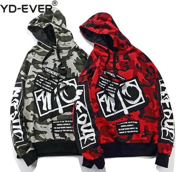 Camuflaje Imprimir Patch Design Hoodies de invierno suéter de Hip Hop Swag de Streetwear Hombres sudadera con capucha AP34