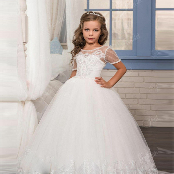 Flower Girl Dresses for Weddings 2019 Puffy Skirt Spaghetti Straps Beaded Lace Appliques Little Girls Pageant Dress Tulle