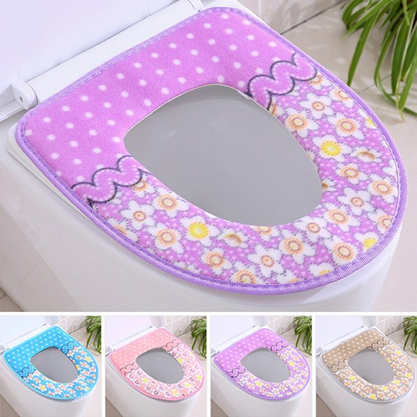 Wholesale Warmer Soft Toilet Seat Cover Plush Pedestal Pan Cushion O-shaped Cushion Print Toilet Seat Covers Decoration Cover DBC DH0463