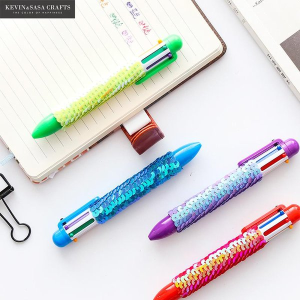 Neue 6 Farbe Reversible Pailletten Kugelschreiber Schulbedarf Bürozubehör Stifte Für Schreibwaren Schreibwaren Werkzeuge