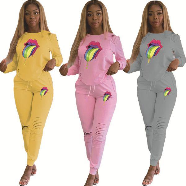 Pembe Kadınlar Tracksuits Spor Seti Büyük dil Eşofman Kıyafet 2 Piece Set uzun delik Pantolon BODYCON Sonbahar Ve Kış Giyim Artı boyutu