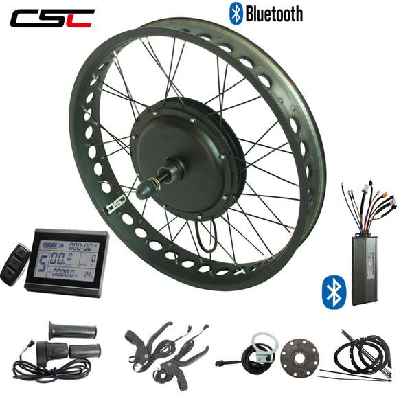 elektrikli yağ lastik bisiklet dönüşüm kiti 48V 1500W Fat Tire ebike kiti LCD ekran ve bluetooth ön 135mm veya arka tekerlek 170 / 190mm